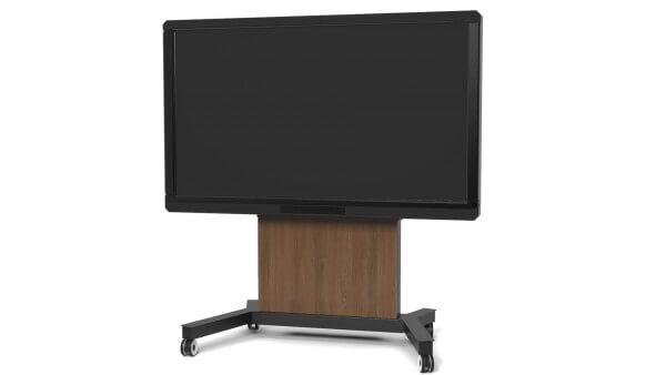 Robolift eRolly 160 Bluetooth - Motor-Rollwagen für LED-/ LCD-/ Touch-Displays, elektr. höhenverstellbar / Cover: dunkles Holz