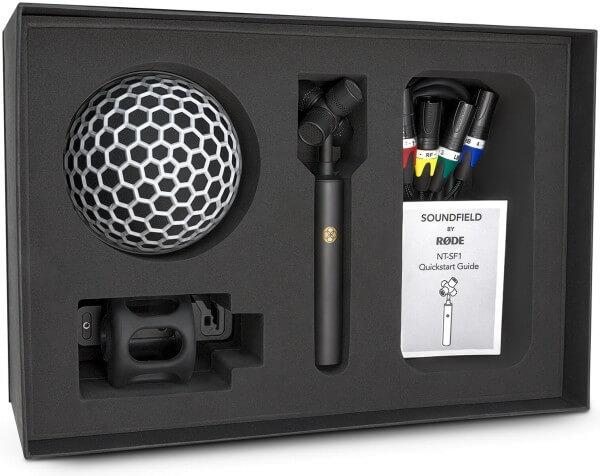 Røde NT-SF1, Ambisonic-Mikrofon mit 4 Echtkondensatorkapseln, inkl. Korbwindschutz, Fellwindschutz,