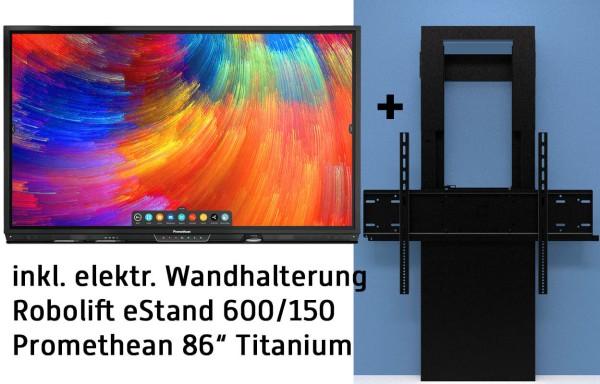 """Promethean 86"""" Titanium BUNDLE inkl. OPS-M-Rechner Win10 (ohne Lizenz), elektrisch höhenverstellbarer Wandhalterung"""